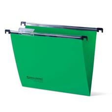 Подвесные папки пластиковые BRAUBERG(Италия), комплект 5 шт., 315х245 мм, до 80 л. А4, зеленые, пластиковые табуляторы, 231799