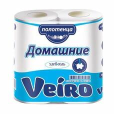 """Полотенца бумажные бытовые, спайка 2 шт., 2-х слойные, (2х12,5 м), VEIRO """"Домашние"""", белые, 3п22"""