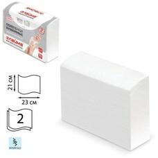 Полотенце бумажное 190 штук, ЛАЙМА (Система H2) люкс, 2-х слойное, белое, 23х21 (Interfold, ZZ, Multifold), 126559