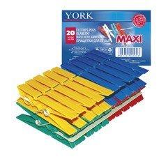"""Прищепки бельевые пластиковые, комплект 20 шт., увеличенные, универсальные, цвет ассорти, YORK """"Maxi"""", 96060"""