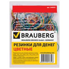 Резинки для денег BRAUBERG, 100 г, цветные, натуральный каучук, 440036