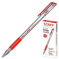 Ручка гелевая STAFF, корпус прозрачный, узел 0,5 мм, линия 0,35 мм, резиновый упор, красная, 141824