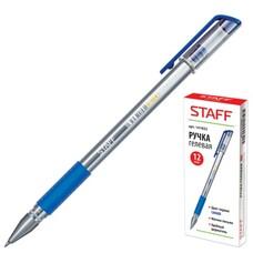 Ручка гелевая STAFF, корпус прозрачный, узел 0,5 мм, линия 0,35 мм, резиновый упор, синяя, 141822