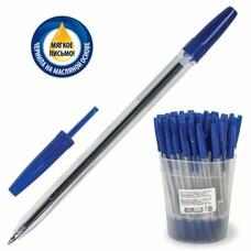 """Ручка шариковая масляная СТАММ """"Оптима"""", корпус прозрачный, узел 1,2 мм, линия 0,7 мм, синяя, РО20"""