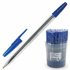 """Ручка шариковая СТАММ """"Оптима"""", корпус прозрачный, узел 1,2 мм, линия письма 1 мм, синяя, РО01"""