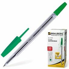 """Ручка шариковая BRAUBERG """"Line"""", корпус прозрачный, узел 1 мм, линия письма 0,5 мм, зеленая, 141342"""