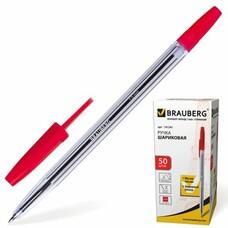 """Ручка шариковая BRAUBERG """"Line"""", корпус прозрачный, узел 1 мм, линия письма 0,5 мм, красная, 141341"""