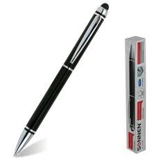 Ручка-стилус SONNEN для смартфонов/планшетов, корпус черный, серебристые детали, 1 мм, синяя, 141589