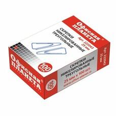 Скрепки ОФИСНАЯ ПЛАНЕТА, 25 мм, никелированные, треугольные, 100 шт., в картонной коробке, 222043