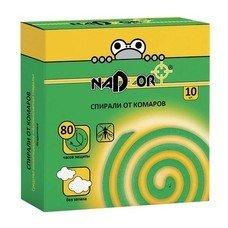 Средство от насекомых спираль 10 шт., от комаров, бездымные, без запаха, NADZOR (Надзор), ISM004C