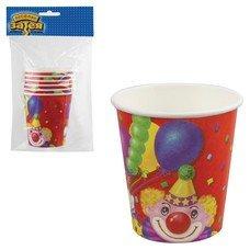 """Одноразовые стаканы, AMSCAN, комплект 6 шт., """"Клоун с шарами"""", бумажные, 190 мл, для холодного/горячего, 1502-0464"""