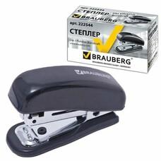 """Степлер BRAUBERG """"Nero"""", №10, мини, до 12 листов, пластиковый корпус, метал. мех., встроен. антистеплер, черный, 222544"""