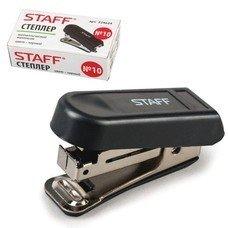 Степлер STAFF, №10, мини, до 7 листов, пластиковый корпус, металлический механизм, встроенный антистеплер, черный, 224624