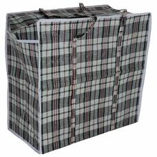 Сумка-баул хозяйственная, полипропилен, 45х40х20 см, 36 литров, черно-красная, 130 г/м2, ЛЮБАША, 604696