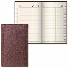 """Телефонная книжка А7, 80х130 мм, 56 л., BRAUBERG, вырубной алфавит, """"Cayman"""", под крокодиловую кожу, коричневая, 125135"""