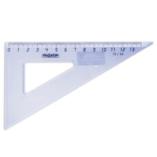 Треугольник пластик 30*13 см ПИФАГОР, тонированный, прозрачный, голубой, 210617