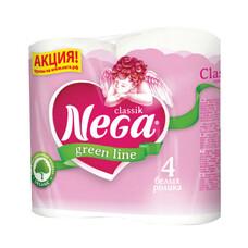 """Бумага туалетная бытовая, спайка 4 шт., 2-х слойная (4х17,5 м), NEGA Classic (""""Нега""""), белая"""