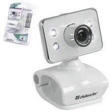 Веб-камера DEFENDER G-lens 321-I, 0.3 Мп, микрофон, USB 2.0, подсветка, регулируемое крепление, белая, 63321