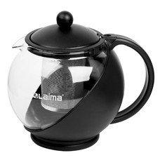 """Заварник (чайник) ЛАЙМА """"Бергамот"""", 1,25 л, стекло/пластик/фильтр - нержавеющая сталь, черный, 601373"""