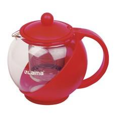 """Заварник (чайник) ЛАЙМА """"Бергамот"""", 750 мл, стекло/пластик/фильтр - нержавеющая сталь, красный, 601374"""