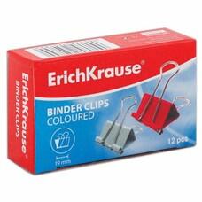 Зажимы для бумаг ERICH KRAUSE, комплект 12 шт., 19 мм, на 60 листов, цветные, в картонной коробке, 25089
