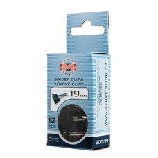 Зажимы для бумаг KOH-I-NOOR, комплект 12 шт., 19 мм, на 60 листов, черные, картонная коробка, подвес, 9600300119KS