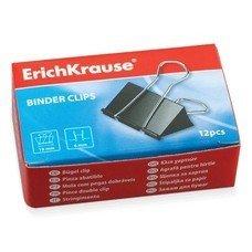 Зажимы для бумаг ERICH KRAUSE, комплект 12 шт., 19 мм, на 60 листов, черные, в картонной коробке, 25086