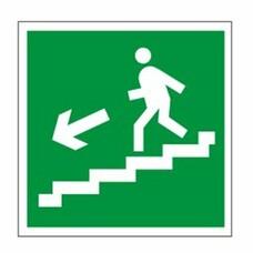 "Знак эвакуационный ""Направление к эвакуационному выходу по лестнице НАЛЕВО вниз"", квадр 200х200 мм, 610019/Е 14"