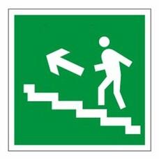 """Знак эвакуационный """"Направление к эвакуационному выходу по лестнице НАЛЕВО вверх"""", квадрат, 610021/Е 16"""