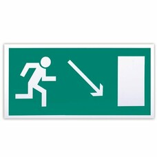 """Знак эвакуационный """"Направление к эвакуационному выходу направо вниз"""", 300х150 мм, самоклейка, Е 07"""