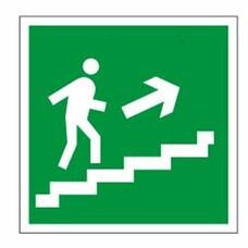 """Знак эвакуационный """"Направление к эвакуационному выходу по лестнице НАПРАВО вверх"""", квадрат, 610020/Е 15"""