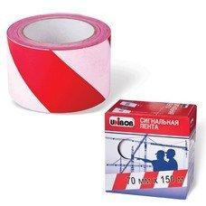 Лента сигнальная красно-белая, 70 мм х 150 м, UNIBOB, в коробке-диспенсере, основа полиэтилен