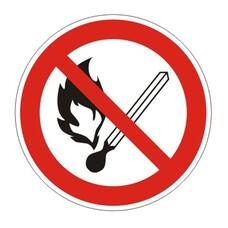 """Знак запрещающий """"Запрещается пользоваться открытым огнем и курить"""", круг, диаметр 200мм, самоклейка, 610002/Р 02"""