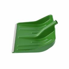 Лопата снеговая зеленая, 400 х 420 мм, без черенка, пластмассовая, алюминиевая окантовка СибрТех [61619]