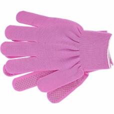 """Перчатки нейлон, ПВХ точка, 13 класс, цвет """"розовая фуксия"""", L"""