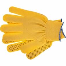 """Перчатки нейлон, ПВХ точка, 13 класс, цвет """"лимон"""", L"""