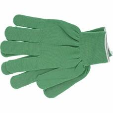 Перчатки нейлон, ПВХ точка, 13 класс, цвет изумрудный, L