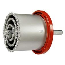 Набор коронок по керамич. плитке, 33-53-67-73-83 мм + напил., в пласт.боксе, 6-гран.хвост. Matrix [72842]