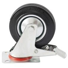 Колесо поворотное с тормозом d-160 мм., крепление платформенное СибрТех [68723]