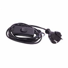 Шнур электрический соединительный, для бра с выключателем, 1,7 м, 120 Вт, черный, тип V-1, СибрТех [96017]