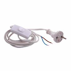 Шнур электрический соединительный, для бра с выключателем, 1,7 м, 120 Вт, белый, тип V-1, СибрТех [96012]