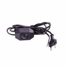 Шнур электрический соединительный, для бра с диммером, 1,5 м, 120 Вт, черный, тип V-2, СибрТех [96018]