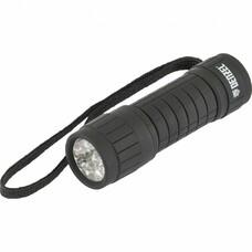 Фонарь светодиодный, черный корпус с мягким покрытием, 9 LED, 3хААА Denzel [92610]