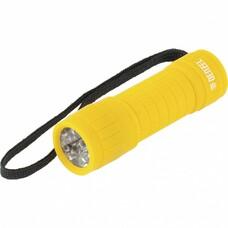 Фонарь светодиодный, желтый корпус с мягким покрытием, 9 LED, 3хААА Denzel [92613]
