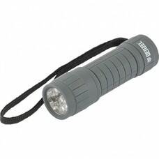 Фонарь светодиодный, серый корпус с мягким покрытием, 9 LED, 3хААА Denzel [92612]