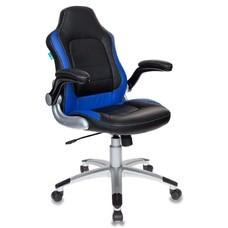 Кресло игровое БЮРОКРАТ Viking-1, на колесиках, искусственная кожа, черный/синий [viking-1/bl+blue]
