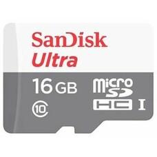 Карта памяти microSDHC UHS-I SANDISK Ultra 80 16 ГБ, 80 МБ/с, 533X, Class 10, SDSQUNS-016G-GN3MN, 1 шт.