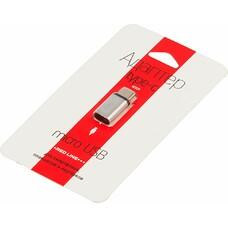 Адаптер REDLINE microUSB - USB Type-C, серебристый [ут000013668]