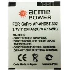 Аккумулятор ACMEPOWER AP-AHDBT-302, 3.7В, 1120мAч, для экшн-камер GoPro Hero3/3+
