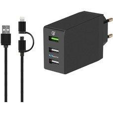 Сетевое зар./устр. DF Tor-05 3A+2.4A+2.4A универсальное кабель Apple Lightning/microUSB черный (DF TOR-05)